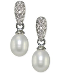 Giani Bernini Freshwater Pearl 10 X 8Mm And Pave Cubic Zirconia Drop Earrings In Sterling Silver Only At Macy's