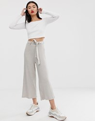 Stradivarius Jersey Culotte With Belt In Beige Beige