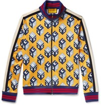 Gucci Printed Satin Jersey Track Jacket Yellow