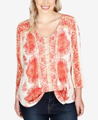 Lucky Brand Trendy Plus Size Peasant Blouse Red Multi