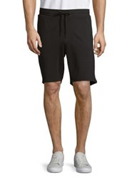 Black Brown Elasticized Drawstring Shorts Black
