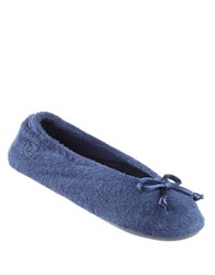 Isotoner Terry Ballet Flat Slippers Navy