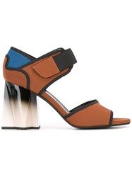 Marni Gradient Heel Colour Block Sandals Brown