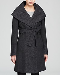 Calvin Klein Coat Belted Wool Wrap Charcoal