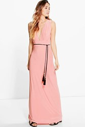Boohoo Rope Tie Maxi Dress Salmon