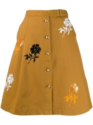 Tory Burch Embroidered Denim Skirt Brown