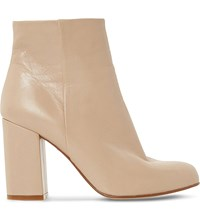Dune Oxbury Leather Heeled Ankle Boots Cream Leather