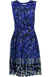 Oscar De La Renta Pleated Printed Silk Chiffon Dress Multi
