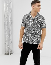 Soul Star Monochrome Leaf Print Shirt Black
