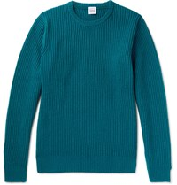 Aspesi Ribbed Wool Yak And Cashmere Blend Sweater Teal
