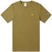 Champion Reverse Weave Rear Script Logo Tee Green