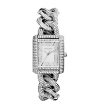 Michael Kors Mini Emery Pave Chain Link Watch Silver