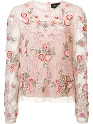 Needle And Thread Floral Embellishment Sheer Blouse Pink Purple