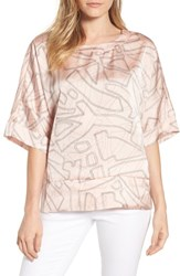 Kenneth Cole New York Boxy Crop Satin Tee Tiny Stitches Peachy Keen