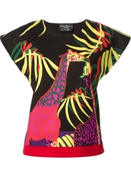 Salvatore Ferragamo Giraffe Print Top Black