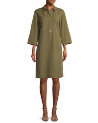 Lafayette 148 New York Cara Italian Pima Stretch Shirt Dress Lily Pad