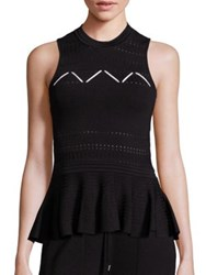 Jonathan Simkhai Pointelle Knit Peplum Tank Top Black White