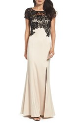Adrianna Papell Women's Lace Mermaid Gown Champagne Black
