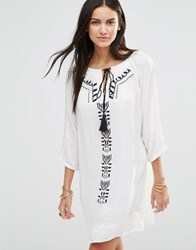 Brave Soul Long Sleeve Tunic Dress With Embroirded Panel Offwhiteblack