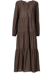 Matteau Tiered Midi Dress Brown