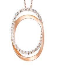 Levian Vanilla Diamond And 14K Strawberry Gold Oval Pendant Necklace 0.65 Tcw Rose Gold