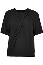 Giambattista Valli Gathered Wool Top Black