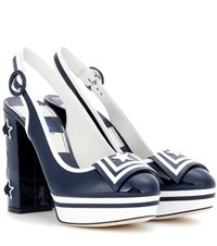 Dolce And Gabbana Vally Patent Leather Pumps Blue