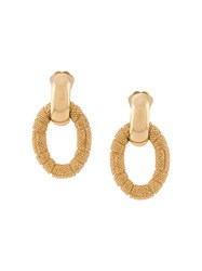 Christian Dior 1980S Pre Owned Textured Dangling Clip On Earrings Gold