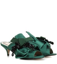 N 21 Satin Kitten Heel Mules Green