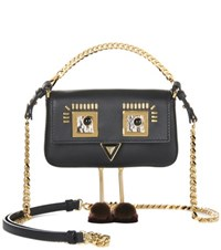 Fendi Micro Baguette Leather Shoulder Bag Black