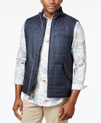 Tasso Elba Men's Tuscan Quilted Vest With Faux Suede Trim Only At Macy's Navy Blue