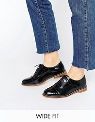 Asos Muse Wide Fit Lace Up Flat Shoes Black