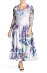Plus Size Women's Komarov Print Charmeuse And Chiffon A Line Long Dress