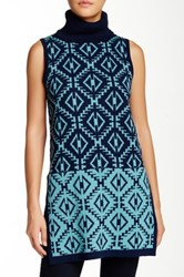 Romeo And Juliet Couture Sleeveless Printed Turtleneck Sweater Blue