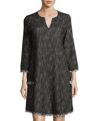 Nanette Nanette Lepore Textured Dress With Fringe Trim Black White