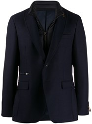 Paoloni Blazer With Brooch Detail Blue