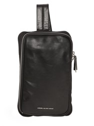 Diesel Black Gold Nappa Leather And Canvas Messenger Bag