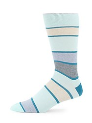Saks Fifth Avenue Stripped Knitted Socks Aqua