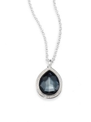 Ippolita Stella Hematite Clear Quartz Diamond And Sterling Silver Teardrop Doublet Pendant Necklace