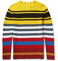 Loewe Striped Chunky Knit Cotton Blend Sweater Yellow