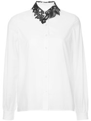 Kolor Contrast Lace Collar Shirt White