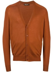 Loro Piana V Neck Cardigan Yellow Orange