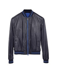 Forzieri Navy Blue Perforated Leather Men's Jacket