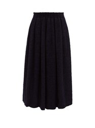 Raey Elasticated Back Textured Full Skirt Navy