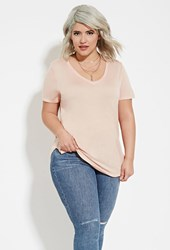 Forever 21 Plus Size Classic V Neck Tee Peach