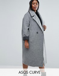 Asos Curve Coat In Cocoon Fit With Contrast Cuff Grey