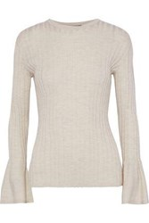 Akris Fluted Ribbed Cashmere Blend Sweater Beige