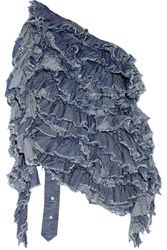 Marques' Almeida Open Back Ruffled Cotton Chambray Top Mid Denim