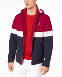 Nautica Big And Tall Colorblocked Hooded Jacket Nautica Red
