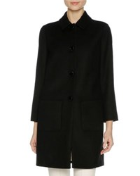 Agnona Wool Coat With Mink Fur Trim Black